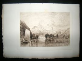 A. Brunet Debaines after J. M. W. Turner 1885 Etching. Totnes, Devon